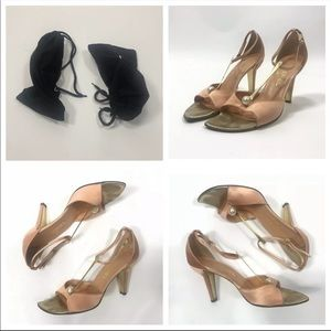 CHANEL Shoes - Chanel T Strap Pearl Collection Satin Heels